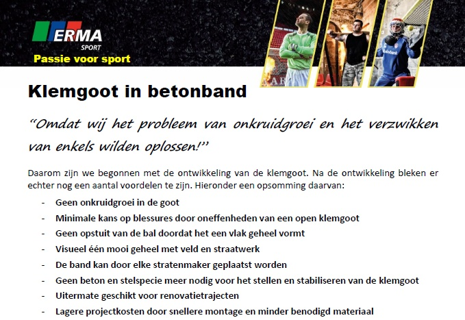 Klemgoot in betonband
